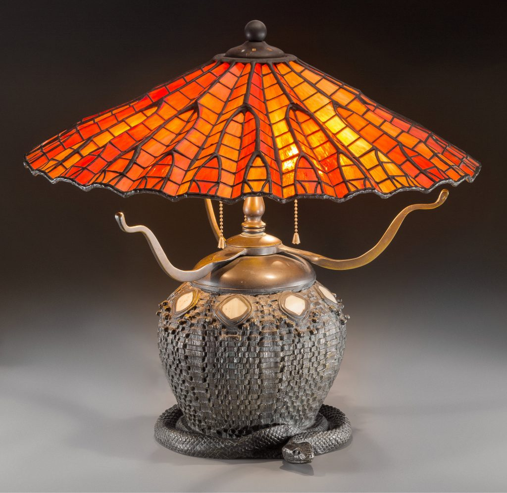 Tiffany Style Lamp with Snake and Basket Motif